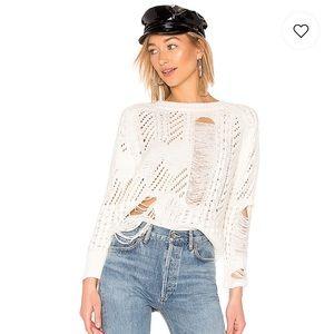 Superdown Ivory Distressed Sweater